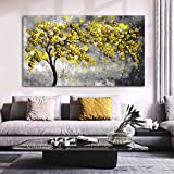 Carteles de árbol amarillo dorado impresiones en lienzo flor paisaje pintura decoración del hogar cuadros de pared para sala de estar arte abstracto