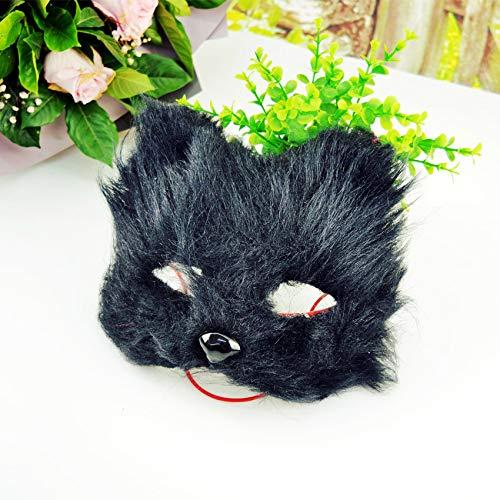 Cute Fox Fairy Half-Face Eye Mask White with PlusY Fox Cat Face Masquerade Ball Mask 18CMX13CM Black
