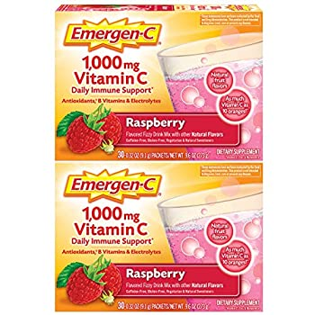 Emergen-C 1000mg Vitamin C Powder with Antioxidants B Vitamins and Electrolytes Vitamin C Supplements for Immune Support Caffeine Free Drink Mix Raspberry Flavor - 60 Count/2 Month Supply