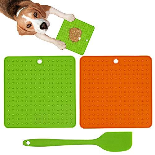 Ley's Dog Lick Pad Hundetraining Langsame Leckerli-Dosierung, Silikon-Leckmatte für Hunde, für Futter oder Leckerlis, für langsames Füttern, Grün und Orange