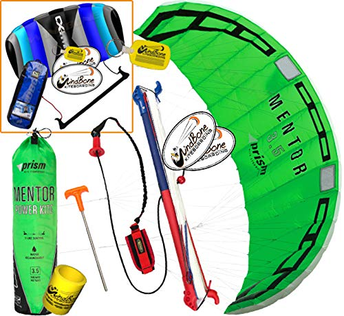 Prism Mentor 3.5 Water Relaunch Kitesurfing Trainer Kite Bundle : (5 Items) Includes 2ND Control Bar Kite : CX 1.5M Foil Control Bar Kite + WindBone Kiteboarding Lifestyle Decals +Key Tag +Can Sleeve