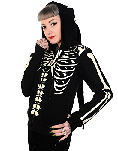 Banned Damen Gothic Kapuzenjacke/Elfenjacke Skelett - Skeleton Zipper Hoodie Glow-In-The-Dark (S)