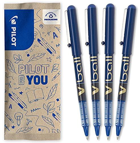 Pilot V-Ball 07 - Lote de 4 bolígrafos de tinta líquida, punta media, color azul