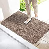 Super Absorbent Magic Mat Door Mat Microfibre Washable Indoor Outdoor Anti Slip Mat – Entrance Step Mats – No Foot Prints – Removes Dirt Mud – Clean Floor (Camel & White)