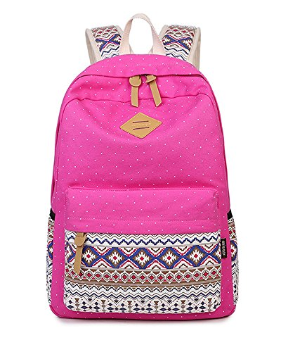 Minetom Schulrucksack Schulranzen Tupfen Muster Schultasche Rucksack Freizeitrucksack Daypacks Backpack Mädchen Damen Rosa One Size