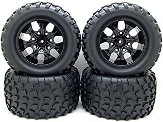 12mm Hub Wheel Rim and Tires 1:10 Off-Road RC Car Buggy Tyre with Foam Inserts Black Pack of 4