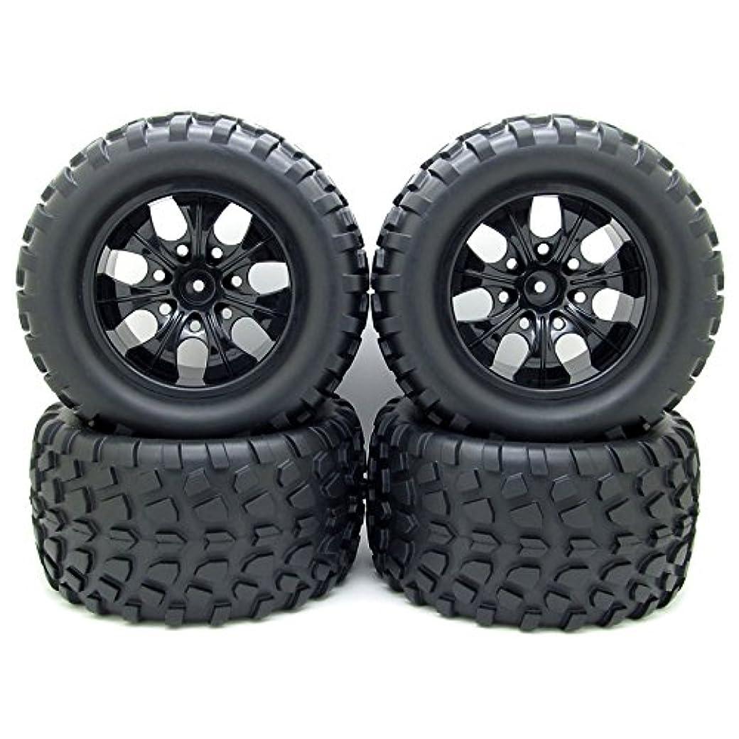 サミット案件リーダーシップ12?mmハブホイールリム&タイヤ1?/10オフロードRC CarバギータイヤW/Foam挿入ブラック4個パック