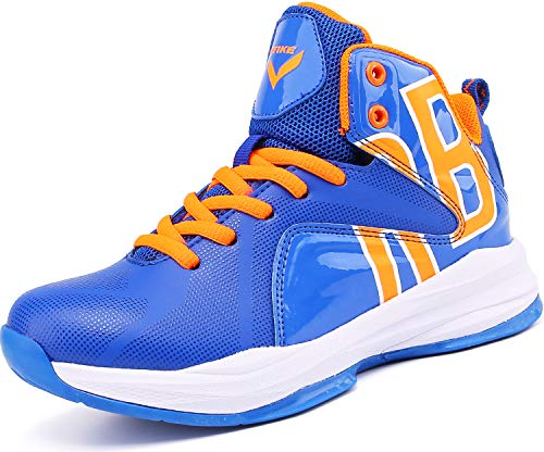 Elaphurus Kinder Hallenschuhe Basketballschuhe Sportschuhe Mädchen Turnschuhe Tennischuhe Kinder Sneaker Laufschuhe,3 Blau,34 EU