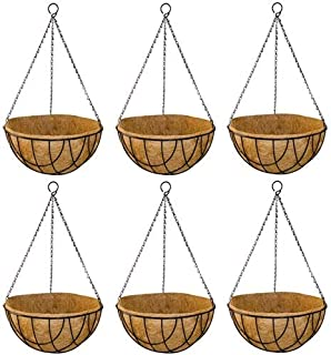 GARDEN KING 10 INCH Coir Hanging Basket with Chain - Designer Coir Hanging Flower Plant Container for Indoor and Outdoor (...