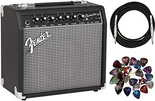 Fender Champion 20 Guitar Amplifier Bundle with Instrument Cable, 24 Picks, and Austin Bazaar Polishing Cloth