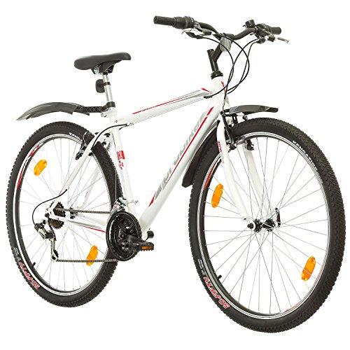 Multiband, PROBIKE PRO 29, 29 Zoll, 483 mm, Mountainbike, Unisex, 21-Fach Shimano, Kotflügel vorne und hinten, Weiß Rot-Blau (Weiß/Grau-Rot (Kotflügel))