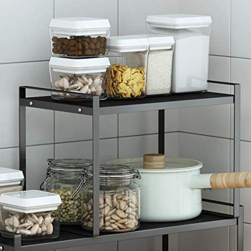 Countertop Organizer Cupboard Stand Spice Rack 13quot Cabinet Pantry Shelf Organization and Storage For Kitchen Bathroom Metal Plate Black