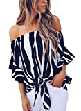 Asvivid Womens Striped Printed Off The Shoulder Chiffon Blouses Short Bell Sleeve Tops Knotted Front Juniors Summer Shirt L Black