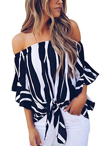 Asvivid Striped Off The Shoulder Blouses for Women Casual Summer Short Bell Sleeve Tops Knotted Front Juniors Summer Shirt XL Black