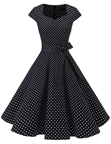 Dresstells Vintage 50er Swing Party kleider Cap Sleeves Rockabilly Retro Hepburn Cocktailkleider Black Small White Dot L