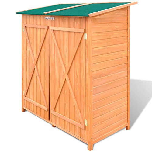 Tidyard Coffre à Outils de Jardin/Abri de Jardin/Grand Coffre de Rangement en Bois Style Naturel Construction Solide 138 x 65,5 x 160 cm