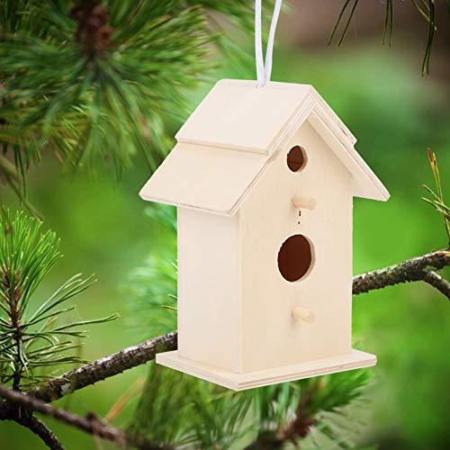 wosumeMaison d'oiseau, 2 pièces innovantes nichoir en Bois extérieur Oiseaux Nidification boîte d'élevage Cage Ornement pour Jardin extérieur Patio Accessoires décoratifs