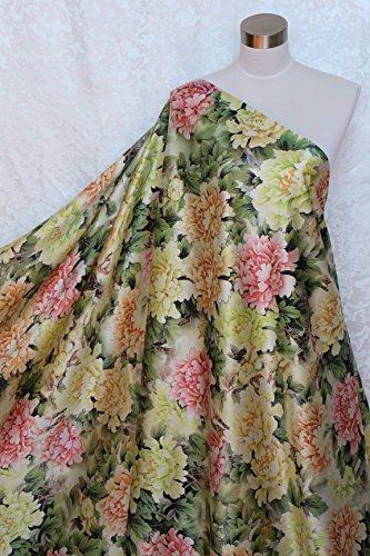 100% Pure Silk Charmeuse Fabric Peony Flower M65 Per Yard