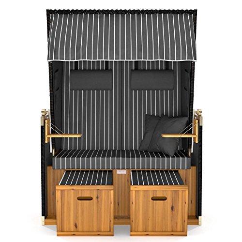 Sanzaro Strandkorb XL120 cm Deluxe Zweisitzer Holz und Poly-Rattan Volllieger 4 x Kissen klappbare Rückenlehne 2 Personen Grau Nadelstreifen - 3