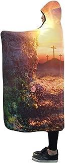 AIKENING Hooded Blanket Crucifixion Sunrise Empty Tomb Shroud Resurrection Blanket 60x50 Inch Comfotable Hooded Throw Wrap