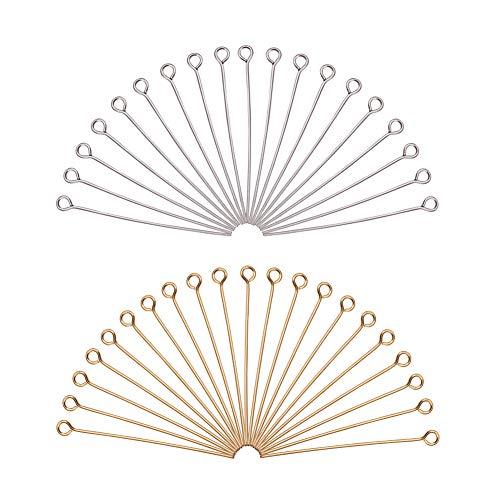 PandaHall Circa 160pcs Eye Pin in Acciaio Inossidabile di Argento per Gioielli Fai da Te 40mm Foro: 2mm Accessori componenti di bigiotteria