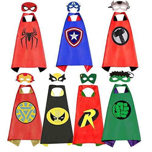 RioRand Dress Up Costumes Cartoon Kids 7 Superhero Capes Set for Boys Costumes Birthday Party Theme Gifts