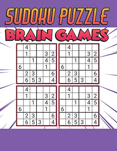 Sudoku Puzzle Brain Games: 500 PUZZLES SUDOKU WITH SOLUTION - Ultimate Challenge Collection of Sudoku Problems - Best Sudoku Puzzle Book For Kids ( Purple )