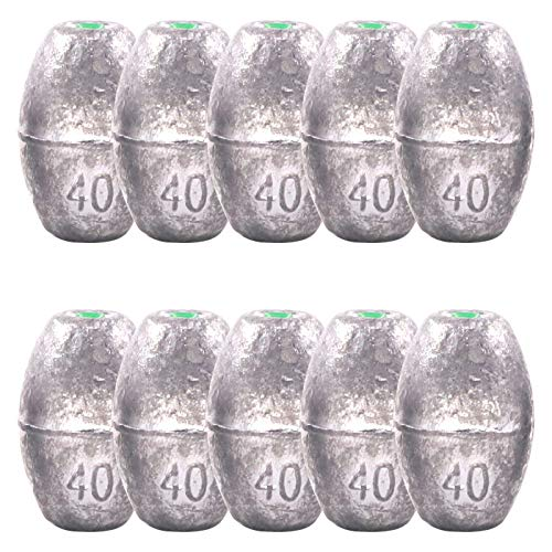 Keadic 10 Pieces 40g Fishing Weights Sinkers,Olive Bass Casting Hollow Egg Bullet Weights with Removable Core for Freshwater/Saltwater Fishing Gear