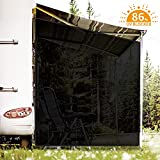 RVINGPRO RV Awning Side Shade, 9' X 7' Black Mesh Sunshade for Camper Trailer Canopy, UV Sun Blocker Complete Kits