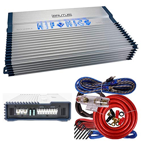 Hifonics BXX1200.4 Brutus 1200W RMS 4 Channel A/B Speaker Car Audio Amplifier RCA Outputs Wired Remote bass Level Control Included with 4 Channels Amp Kit