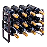 GONGSHI 3 Tier Stackable Wine Rack, Countertop Cabinet Wine Holder Storage Stand - Hold 12 Bottles, Metal (Bronze)