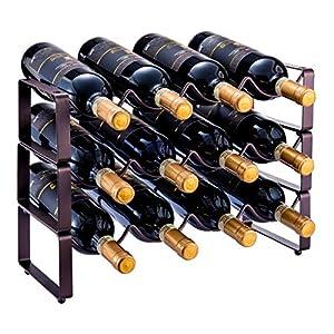 3 Tier Stackable Wine Rack, Countertop Cabinet Wine Holder Storage...