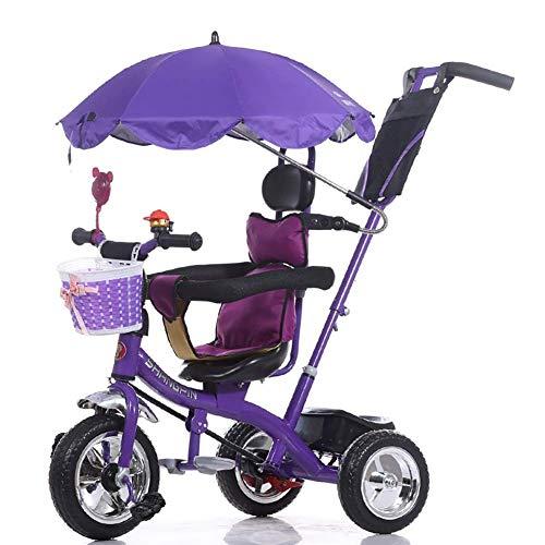 Rziioo Kinder 4 in 1 Trike Leichtes Kind 3-Rad-Dreirad Fahrrad mit Korb, Baby-Kindersitze Trolley für 1-7 Jahre alt, Mehrfarbig,Lila