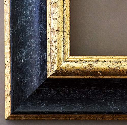Cornice portafoto ACTA NERO–Oro 6,7, Cornice intercambiabile con vetro da museo (specchiato, resistenza 45% ai raggi UV), nero, 105 x 140 cm