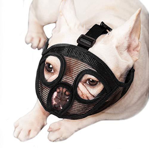 ILEPARK Bozal para Perros de Hocico Corto, Bozal de Bulldog Anti-Mordiscos y Ladridos, Máscara para Perros (XL,Negro)
