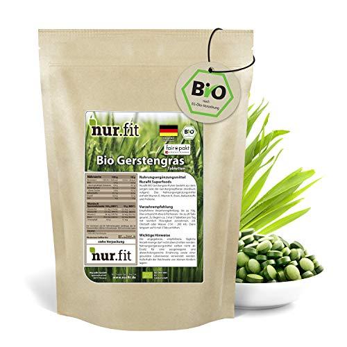 nur.fit by Nurafit BIO Gerstengras Presslinge 500g / 1000 Stück – rein natürliche Tabs aus Gerstengras ohne Zusatzstoffe aus deutschem Anbau - Bio zertifiziert mit Vitaminen und Eisen