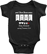 and Then There were Five Pregnancy Announcement Bodysuit Personalized Custom Bodysuit New Family Member Dogs