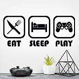 Eat Sleep Play pegatinas de pared de vinilo para niños juego de pegatinas de juego de decoración de juegos de arte de gamer Picture boy Decal cartel cocina guardería decoración niños niños