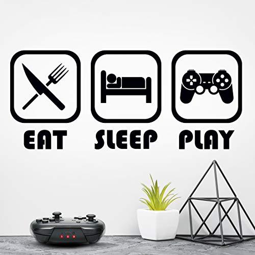 Eat Sleep Play pegatinas de pared de vinilo para niños juego de...