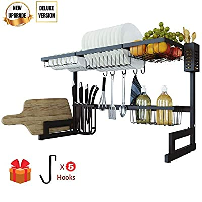 TOOLKISS Stainless Steel Over-The-Sink Dish Drying Rack,Drainer Shelf for Kitchen Countertop Organizer Saving Space Dish Rack with Utensil Holder Black (TK191001) from Toolkiss