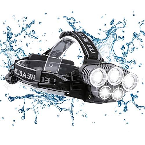 Ramotto Torcia Lampade Frontale LED USB Ricaricabile, Lampade da Testa 15000LM con 5 LED 6 Modalità, Zoomabile Impermeabile per Correre, Campeggiare, Speleologia, Pesca, Cacciare