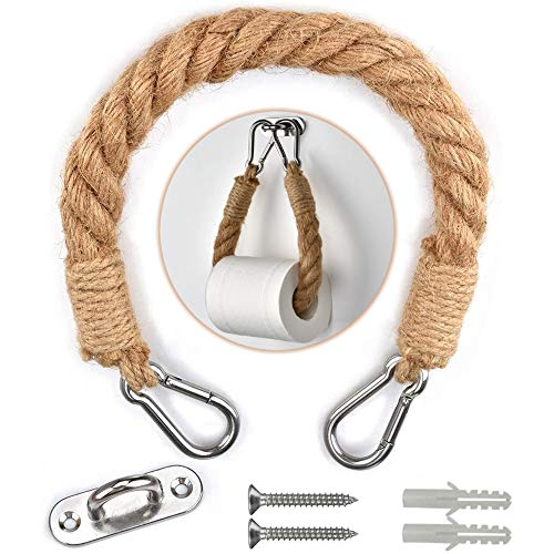 Portarrollos Papel Higiénico Vintage con Cuerda Soporte para Toallas con Cuerda Soporte de Rollo Cocina Cuerda Colgante de Toalla Retro Toallero Decoración de Baño Accesorio de Baño 1 Pieza