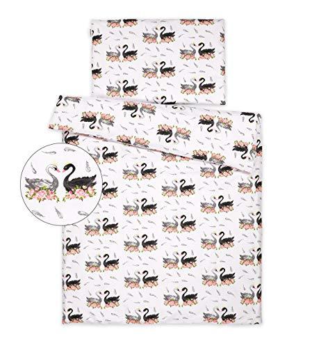 Kinderbettwäsche 120x90 2 Tlg. Bettwäsche zweiseitig 100% Baumwolle NEU Bettset (Weiße und Schwarze Schwäne)