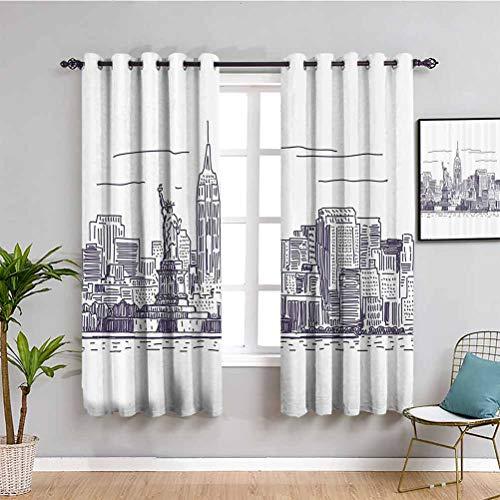 Cortina de baño con diseño de isla de Ellis de Nueva York, diseño de imagen simple de la estatua de la libertad y símbolo de la libertad de Nueva York, color morado y blanco