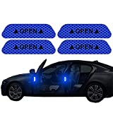 4PCS/Set Car Door Stickers Universal Safety Warning Mark Open High Reflective Tape Car Motorcycle Accessories Exterior Bike Helmet Sticker (Blue)