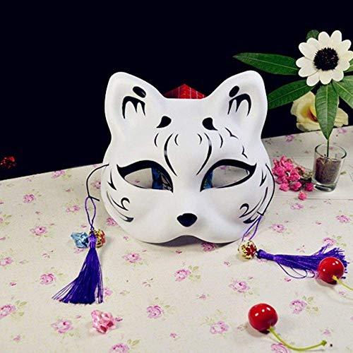Máscara de Halloween, máscara de Halloween Waylike Halbe Gesicht Katze Anime Fuchs Oscuro Maske Cosplay Bola Kostm Requisiten Maskerade Kleid hasta Dance Party WDDT ( Color : C , Size : China )