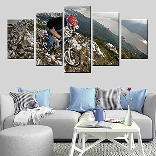 13Tdfc Prints On Canvas 5 Pieces canvas wall art Modern wall decoration home living room Decoration Creative Gift Wooden frame Extreme sport mountain bike cliff scene painting