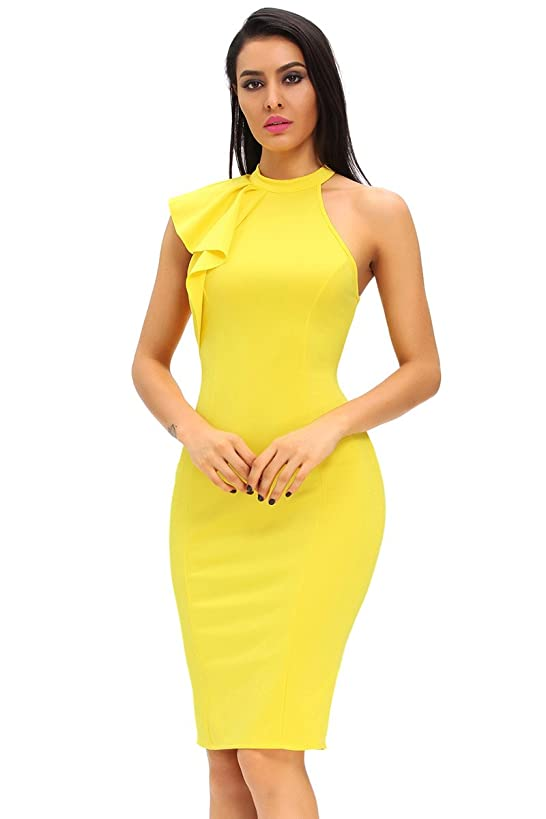 Eastylish Women's One Shoulder Ruffle Sleeve Midi Dress Bodycon Party Drerss