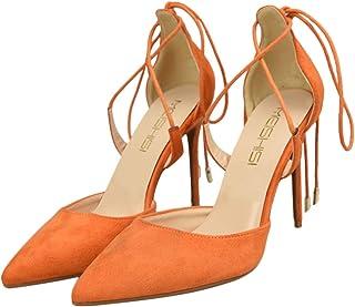 Happyyami Femmes Sexy Escarpins à Lacets en Denim Chaussures Talons Hauts Aiguille 8CM Bout Pointu Elégante Confortable po...