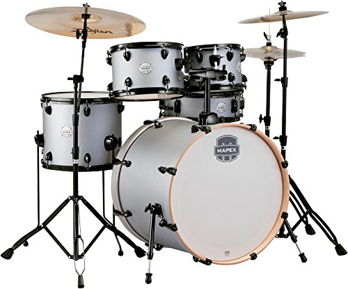 "Mapex ST5295FBIG Storm Rock 22"" Bass Drum 5-Piece Drum Set w/Hardware - Iron Grey w/Black"